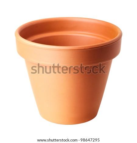 flower pot isolated on white - stock photo