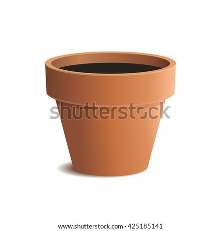 Flower Pot Isolated on White Background. illustration