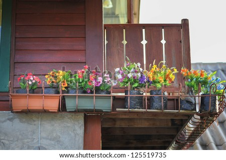 flower pot on balcony - stock photo
