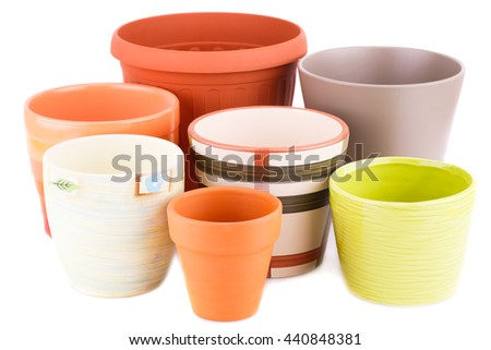 Flower pots isolated on a white background. - stock photo