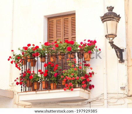 flower pots on the balcony of the house - stock photo