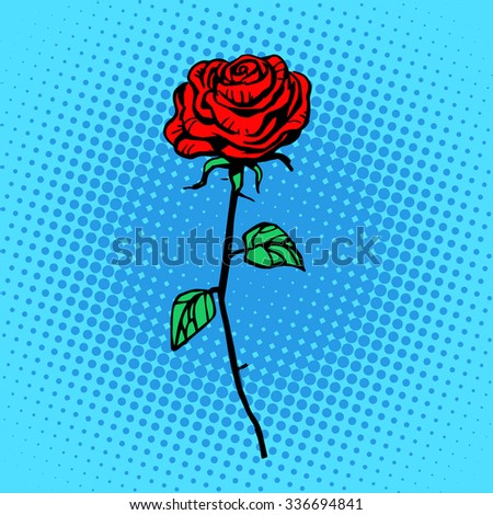 Flower red rose stem with thorns a symbol of love and romance - stock photo