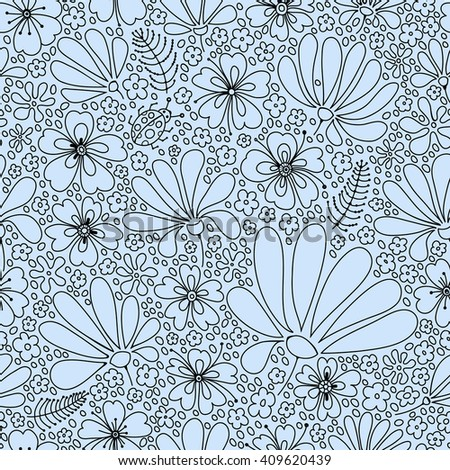 Flower seamless pattern, blooming spring meadow, graceful pattern of flowers and bugs, tender black and green graphics, hand drawn. - stock photo