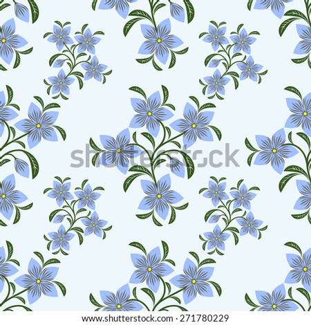 Flower seamless Pattern with blue Flowers.  Raster version. - stock photo