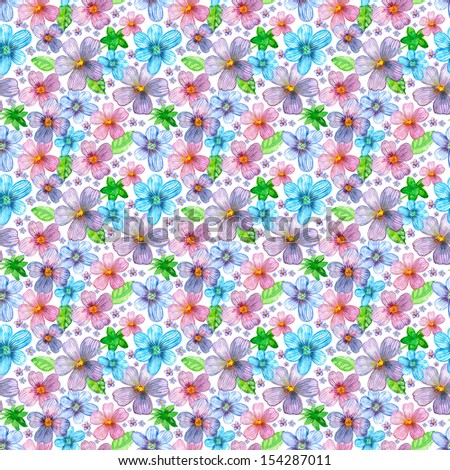 Flower seamless texture watercolor - stock photo