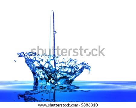 flower shape water splash - stock photo