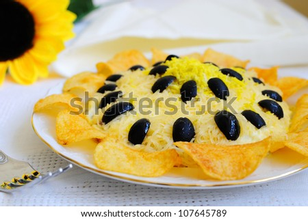 Flower shaped salad - stock photo