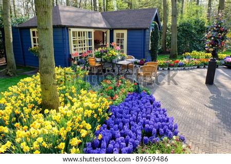 Flower shop in Keukenhof Gardens, Lisse, Netherlands - stock photo