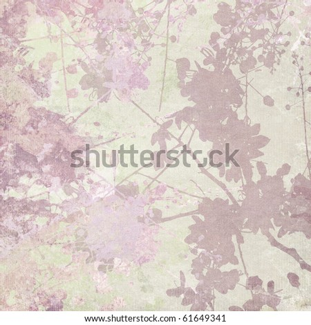 Flower Silhouette Print on Pastel Textured Background - stock photo