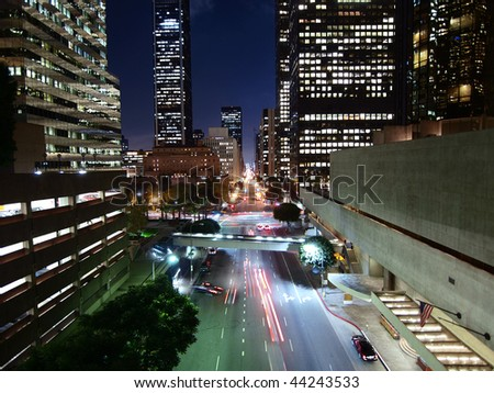 Flower Street in Downtown Los Angeles California. - stock photo
