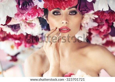 Flower style portrait of a young beauty - stock photo