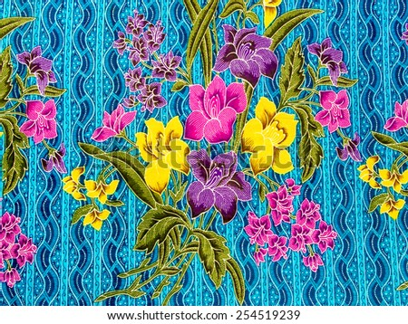 Flower textile pattern in thai style - stock photo