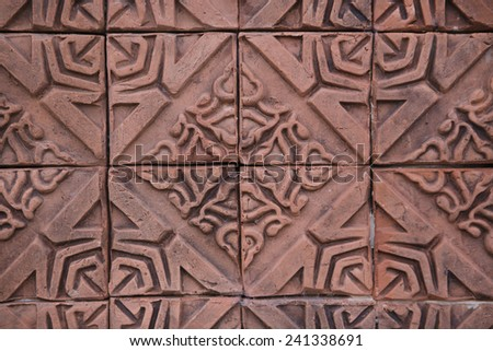 flower textured brick - stock photo