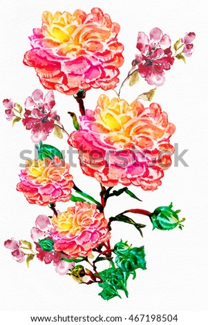 Flower Watercolor Background Floral Illustration Bouquet Stock ...