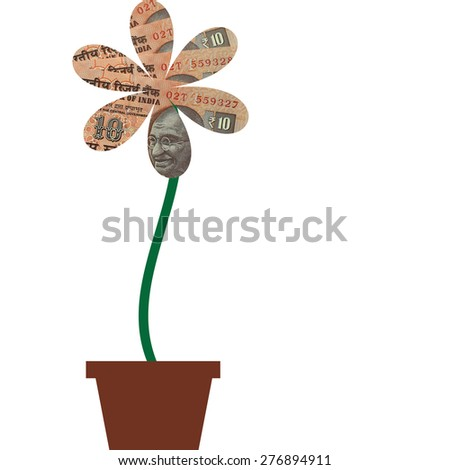 Flower with petals of India Rupee money currency in flower pot, illustration to demonstrate how to grow money similar to that of a flower - stock photo