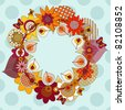 flower wreath with space for your message, vector version also available in my portfolio - stock vector