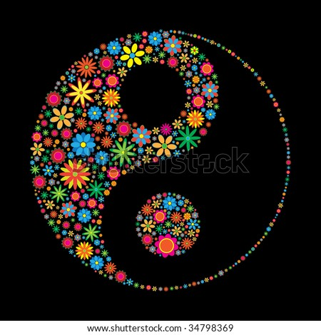 Flower ying yang. See vector version in my portfolio - stock photo