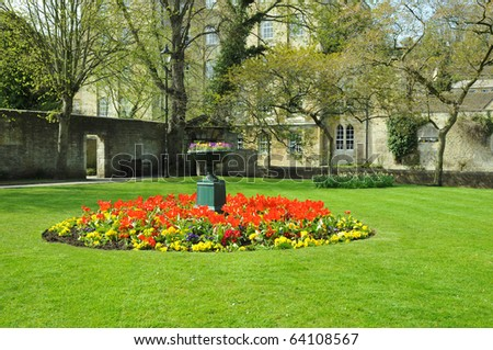 Flowerbed and Lawn in a Formal Garden