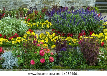 flowerbed with different colorin in Sanssouci park, Germany