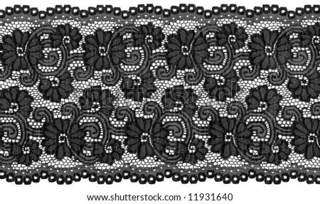 flowered  black lace - stock photo