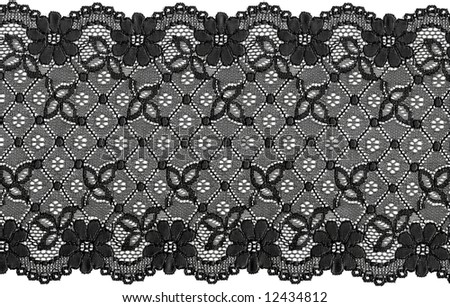 flowered  black lace on white background - stock photo