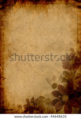 Flowered frame for greeting, congratulations or felicitation - stock photo