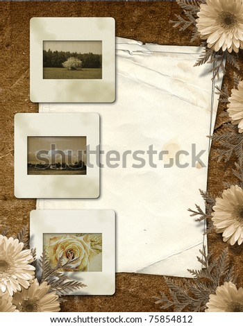Flowered frame for greeting, congratulations or felicitation