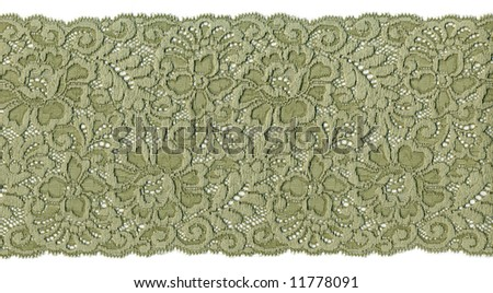 flowered  green lace - stock photo