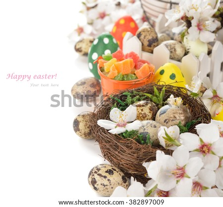 Flowering branches and eggs on a white background, easter concept - stock photo