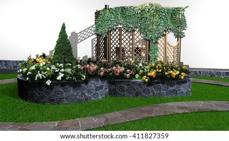 Flowering of the landscape garden, 3d render - stock photo