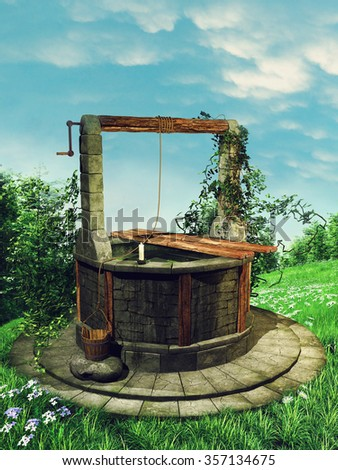 Flowering spring meadow with an old wishing well and ivy - stock photo