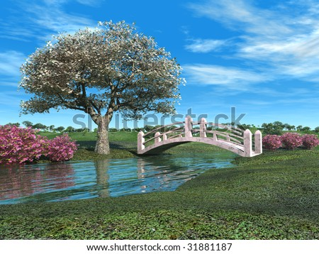 Flowering tree, bushes, and pink bridge over small river in spring.