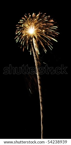 Flowerlike bloom of fireworks with white-hot core and long rocket trail - stock photo