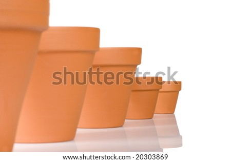 flowerpot in a row in front of a white background - stock photo