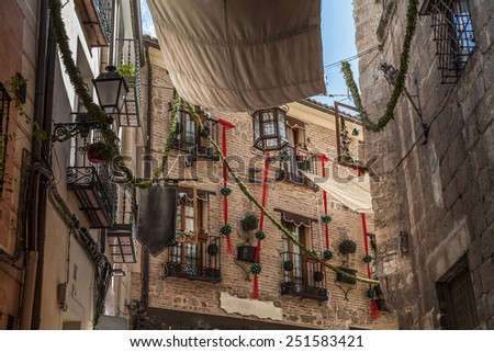 Flowerpots in the streets of Toledo, Spain
