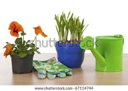 Flowerpots with garden tools isolated on white background