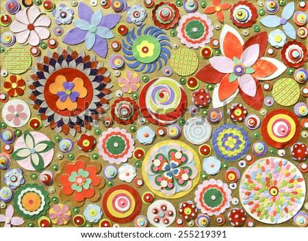 Flowers, abstract composition made of paper layers, quilling with die cut and scissors, abstract background painting.