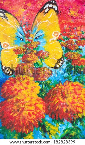 Flowers and butterfly. Oil painting - stock photo