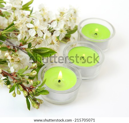 flowers and candles - stock photo