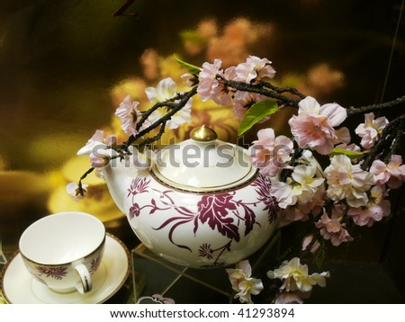 Flowers and china - stock photo