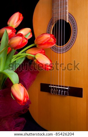 Flowers and classic guitar on the black  background - stock photo