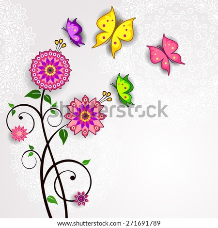 Flowers and colorful butterflies with space to insert your own text - stock photo