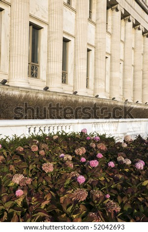 Flowers and Columns - side of Field Museum in Chicago. - stock photo