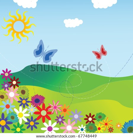 flowers and field composition, abstract art illustration; for vector format please visit my gallery