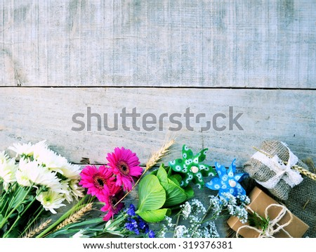 Flowers and Gift, background for text or congratulations, romantic concept - stock photo