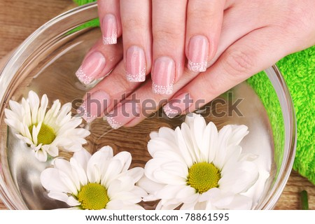 flowers and hands - stock photo