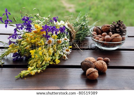 Flowers and herbares bunch and nuts - stock photo