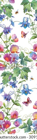Flowers and insects. Aquilegia and sweet peas seamless background pattern. Version 1