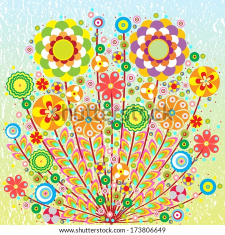 Flowers and leaves, fantasy bouquet, card, grunge background