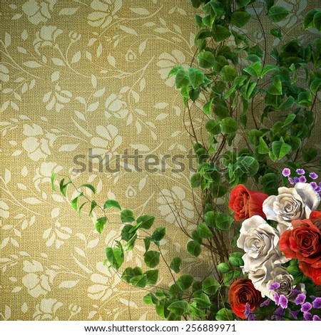 flowers and plants holiday concept background - stock photo